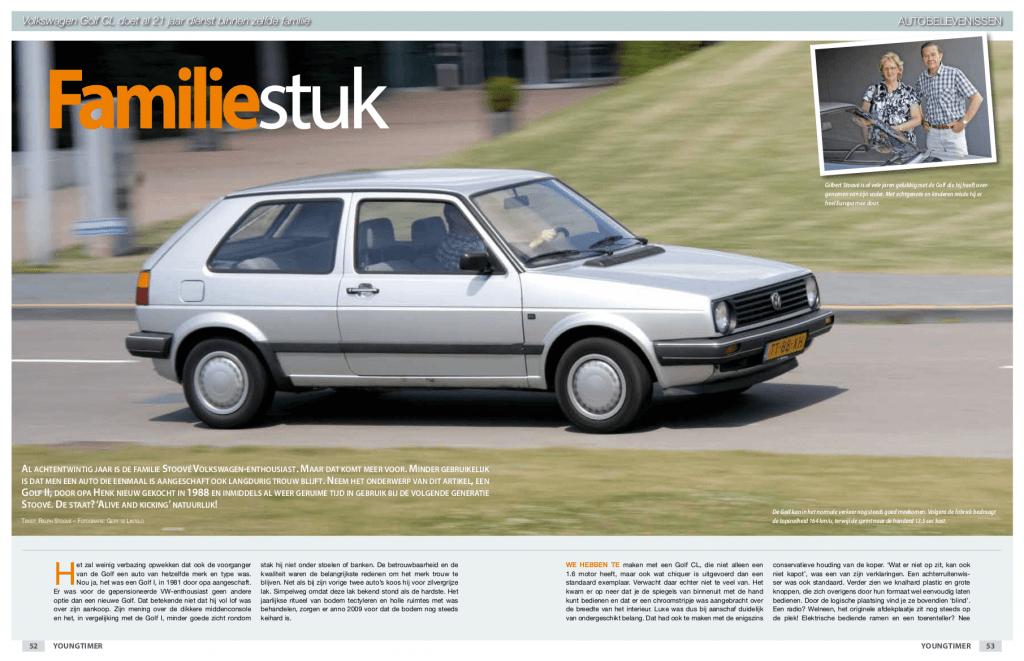 Pagina 1 van 3 van het artikel over de Volkswagen Golf II CL (Golf CL) uit 1988 van de familie Stoové in de eerste editie van Youngtimer Magazine in 2010.