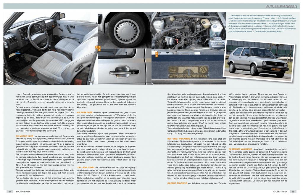 Pagina 2 van 3 van het artikel over de Volkswagen Golf II CL (Golf CL) uit 1988 van de familie Stoové in de eerste editie van Youngtimer Magazine in 2010.