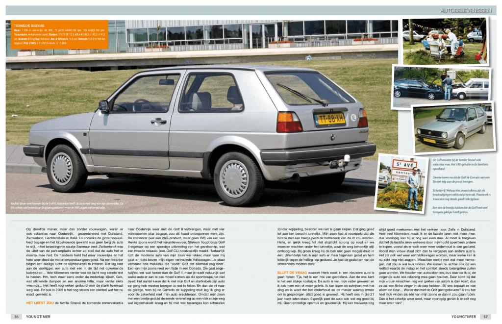 Pagina 3 van 3 van het artikel over de Volkswagen Golf II CL (Golf CL) uit 1988 van de familie Stoové in de eerste editie van Youngtimer Magazine in 2010.