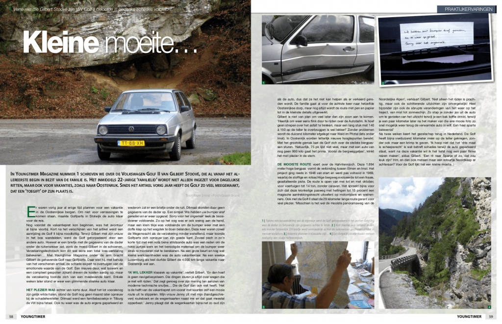 Het update-artikel over de Volkswagen Golf II CL (Golf CL) uit 1988 van de familie Stoové in de zesde editie van Youngtimer Magazine in 2011