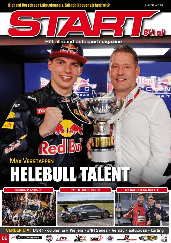 Afbeelding van de voorpagina (cover) van autosportmagazine Start'84, editie juni 2016.