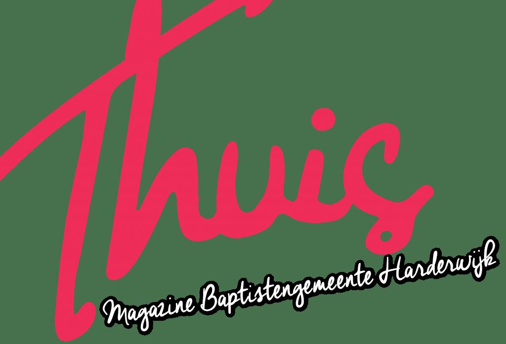 Illustratie: weergave van het logo van Thuis. Thuis is het magazine van de baptistengemeente in Harderwijk.