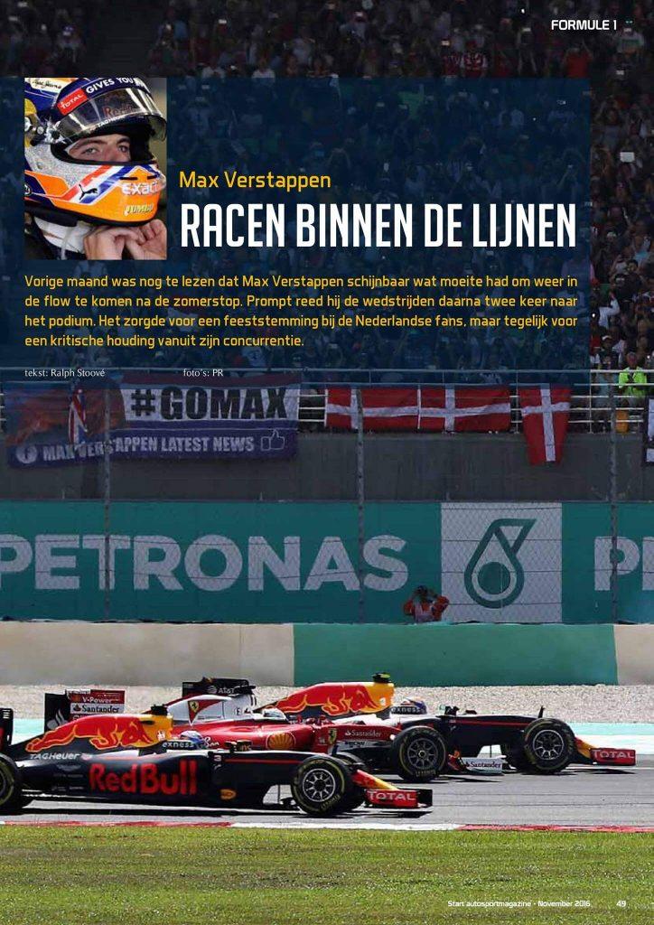 Illustratie: openingspagina van het artikel over Max Verstappen in de Formule 1 voor Red Bull Racing in START '84 Autosportmagazine november 2016