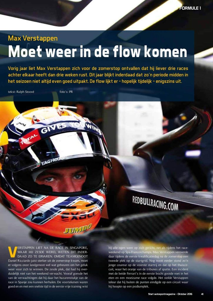 Openingspagina Start '84 Autosportmagazine Max Verstappen