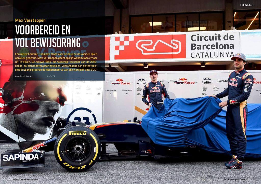 Afbeelding van een deel van de pagina's van het artikel in Start'84 autosportmagazine maart-2017 artikel Max-Verstappen.