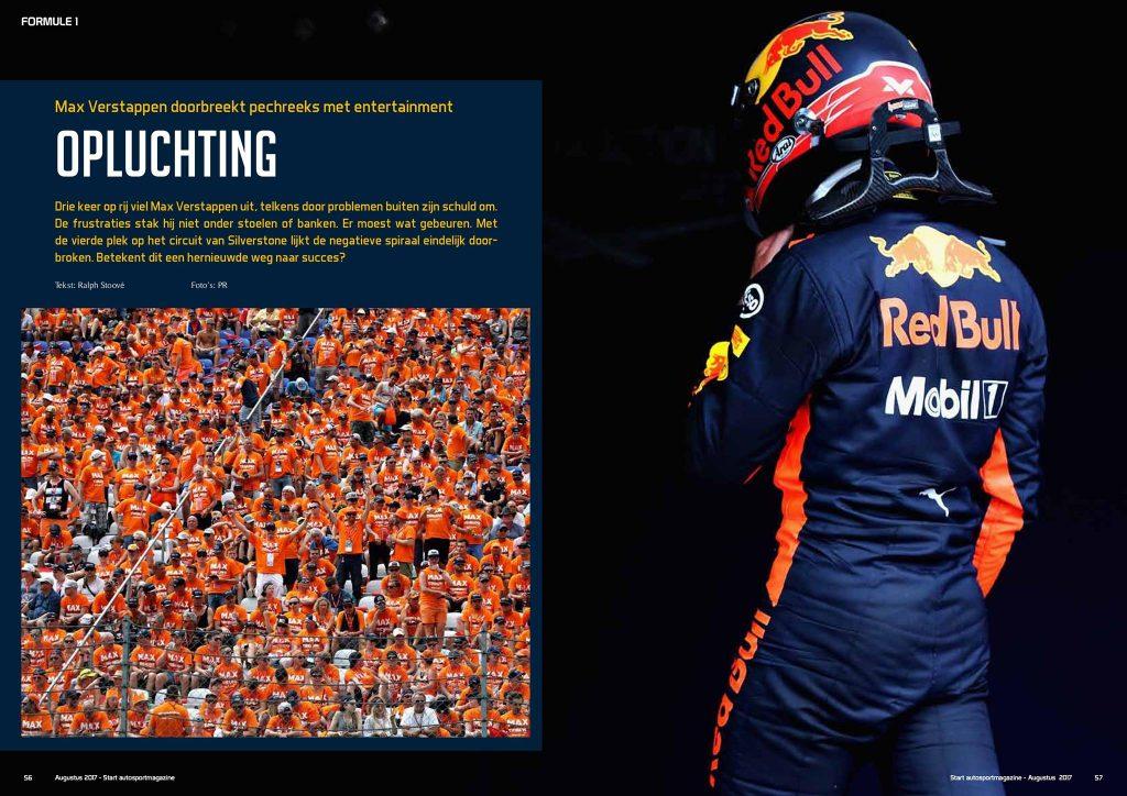 Openingspagina van het artikel over Max Verstappen in START 84 autosportmagazine van augustus 2017 door Ralph Stoove