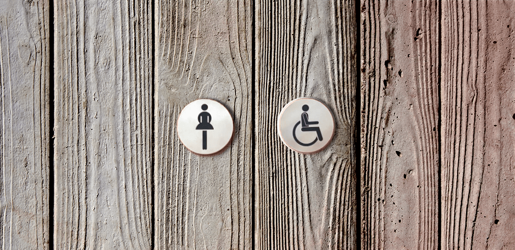 photo of accessible toilet built into powder room is not gender-neutral according to Ralph Stoove