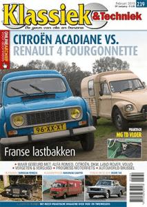Cover van Klassiek en Techniek editie 238 van januari 2018 met artikelen van Ralph Stoove over de Mercedes Hanomag Hebo Camper en Mazda RX-7 FB series 2