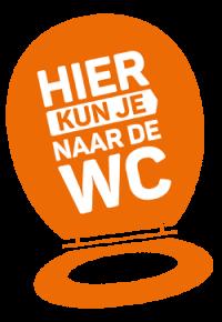 Logo van de campagne 'Hier kun je naar de wc' van de Maag Lever Darm Stichting waarvoor Ralph Stoove van Ragasto zich ook inzet om meer openbare toiletten te realiseren in Harderwijk