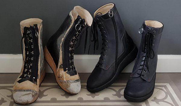 Afbeelding van proefschoenen en orthopedische schoenen bij reuma ziekte van bechterew
