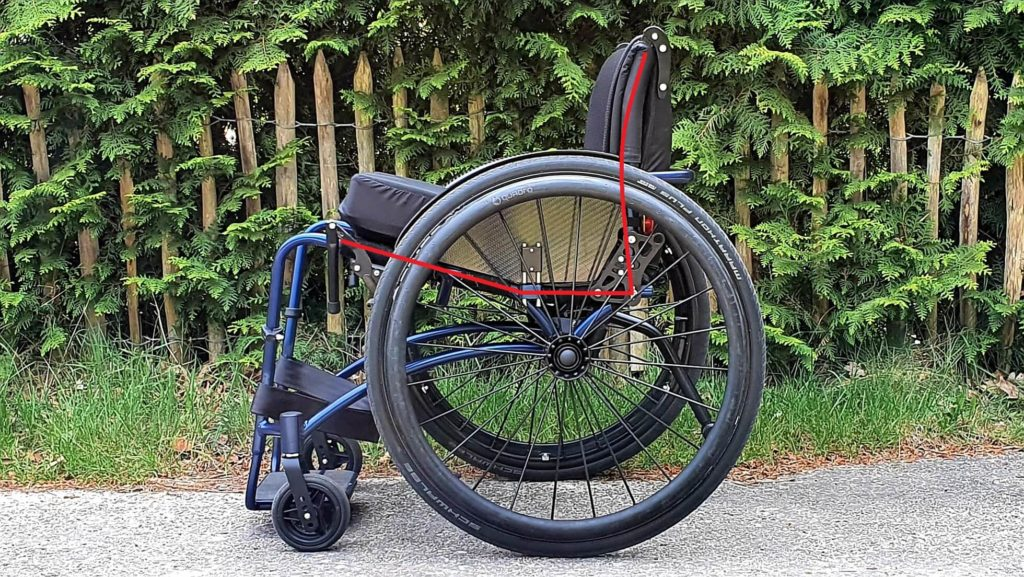 Afbeelding van ergozit in rolstoel verduidelijkt met rode lijnen in mijn TNS Notos