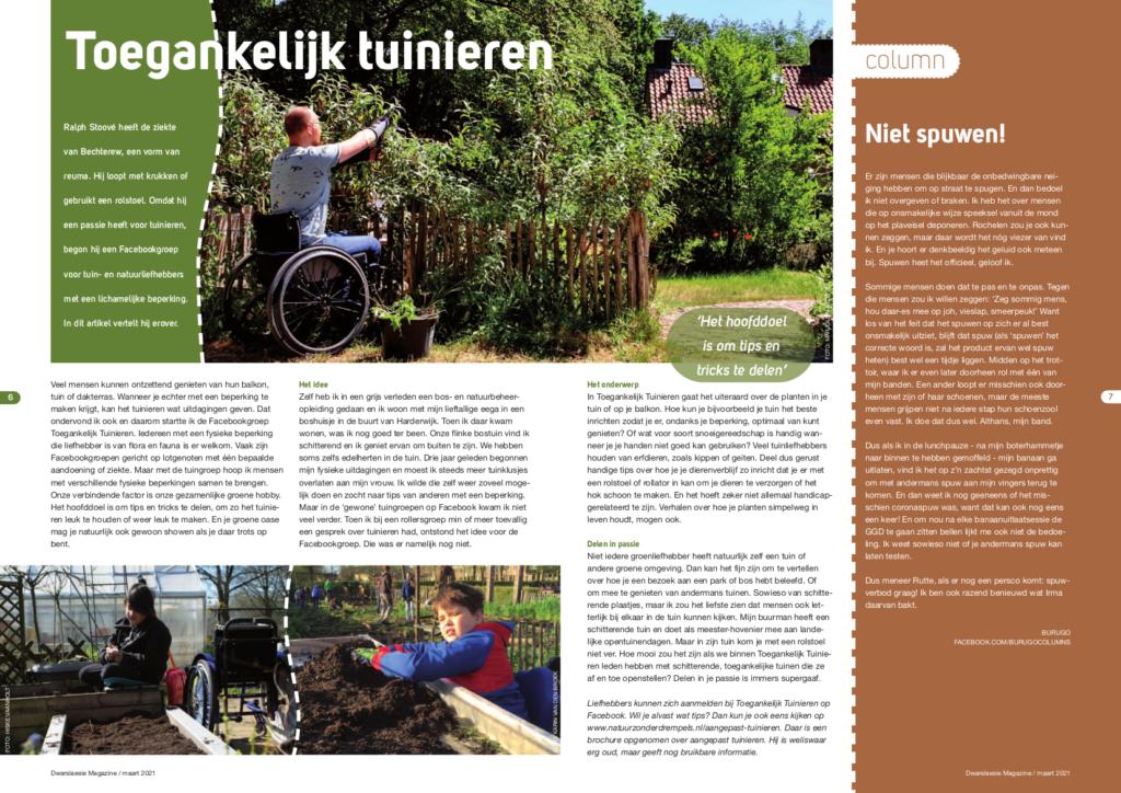 Weergave van artikel over Toegankelijk Tuinieren in Dwarslaesie Magazine van maart 2021