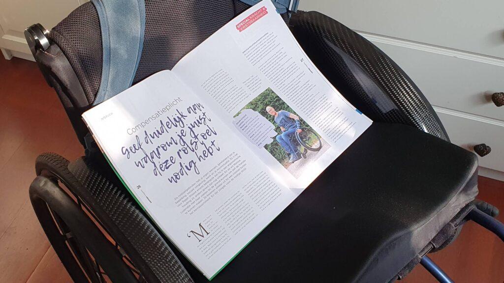 Support Magazine editie 1 van 2021 opengeslagen bij het artikel over Ralph Stoové uitgestald op een rolstoel