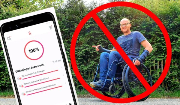 Afbeelding met links een screenshot van de SamenGezond App en daarnaast Ralph Stoové in zijn rolstoel met daardoorheen het symbool van verboden toegang om duidelijk te maken dat rolstoelgebruikers zijn buitengesloten